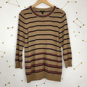 J Crew • Tan Black Striped Tippi Wool Sweater